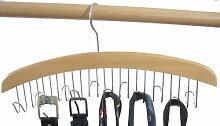Hagspiel Kleiderbügel aus Holz, Hartholz, 1 Stk. Gürtelhalter oder Krawattenhalter mit 12 Haken