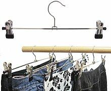 Hagspiel Kleiderbügel aus Metall, 100 Stk. Klammernbügel mit verschiebbaren Metallklammern 40 cm (Hosenbügel)