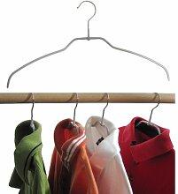 Hagspiel Kleiderbügel aus Metall, Drahtbügel silber rutschhemmend beschichtet, für Hemden oder Blusen, 4 mm, 10 Stk., sehr platzsparend