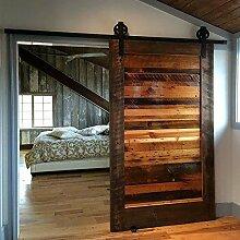 hahaemall 5ft/1,5m Vintage Wand montiert Metall Rolling Schiebetür Hardware Track Set Aufhängen Single Holz Tür