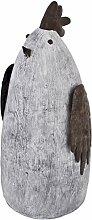 Hahn Gartendeko Figur Resin Metall 51x25x23cm grau