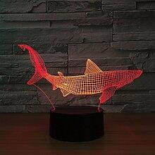 Hai 3D Optical Illusion Lampe, 7 Farbänderung