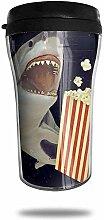 Hai, der Popcorn-Reise-Kaffeetasse isst, druckte
