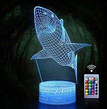 Hai-Nachtlichter, 3D-Effekt, LED-Licht,