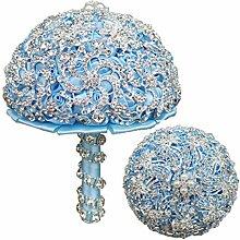 haia7k4k Brautstrauß mit Strasssteinen und Perlen
