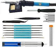 Haichen Lötkolben-Kit, einstellbare Temperatur Schweißen Eisen Full Set 60W 220V, 5pcs verschiedene Tipps, Stand, Anti-Statik-Pinzette, zusätzliche Lötrohr, 6pcs Hilfe Werkzeuge mit Werkzeugtasche