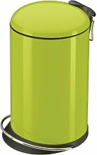 Hailo 0516-550 TOPdesign M Mülleimer, aus Stahlblech, 13 Liter, breite Metall-Fußreling, Müllbeutel-Klemmung, Metall-Tragegriff, made in Germany