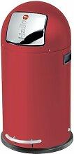 Hailo 0835-139 KickMaxx L Mülleimer, aus Stahlblech, 28 Liter, selbstschließende Push-Klappe, breite Fußreling, verzinkter Inneneimer, Tragegriffe
