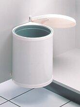 Hailo 3555-001 Compact-Box M, Einbau-Mülleimer aus Stahlblech/Kunststoff, 15 Liter, Deckel-Lift-System, einfache Montage, made in Germany