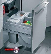 Hailo Cargo Soft 45 Küchen Mülleimer 3x10 Liter Smooth-Tec Selbsteinzug *40437