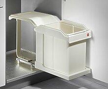 Hailo Solo Abfallsammler MS Swing 20 Liter Mülleimer Auszug System (cremeweiß, Solo / 30er Schrank)