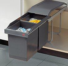 Hailo Tandem Swing Küchen Mülleimer 2x15L Abfalleimer Teilauszug *43661
