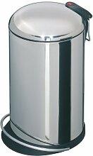 Hailo TOPdesign M (0514-240) Mülleimer aus Edelstahl, 13 Liter, breite Metall-Fußreling, Müllbeutel-Klemmring, Metall-Tragegriff