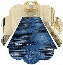 HAIPENG Blau Läufer Teppich Flur Teppichläufer,