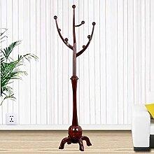 HAIYING Kleiderständer Traditional Solid Wood Coat Rack, Robuste Garderobe Massiv Eiche Wood Hall Baum Mit Stativ Base, Für Schlafzimmer Und Wohnzimmer (Kaffee) (Farbe : B)