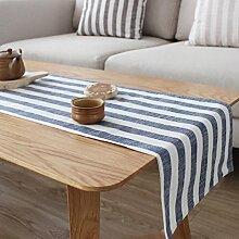 HAIYING Tischläufer Blau Und Weiß Gestreift