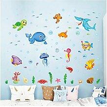 HAJKSDS Cartoon Happy Fish Sea World Wandaufkleber