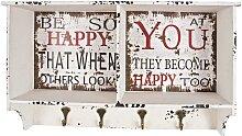 Hakengarderobe im Shabby Chic Design Schrift Print