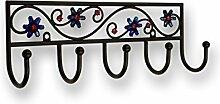 Hakenleiste Homberg, Blume, Pflanze, Blatt, Kinder, Zinkdruckguß pulverbeschichtet - Schwarz matt, LA 155 mm