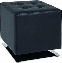 HAKU Möbel 30588 Hocker 40 x 40 x 42 cm, chrom / schwarz