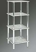 HAKU Möbel 90440 Regal, Metall, Chrom-Betonoptik, 39 x 39 x 107 cm