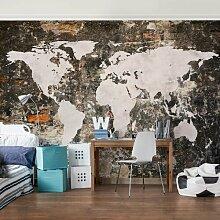 Halbglänzende Tapete Alte Mauer Weltkarte