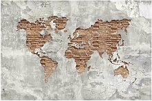 Halbglänzende Tapete Backstein Weltkarte East
