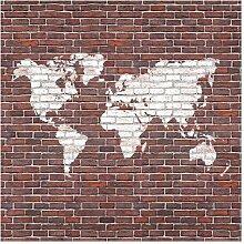 Halbglänzende Tapete Backstein Weltkarte