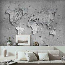 Halbglänzende Tapete Beton Weltkarte East Urban