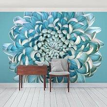 Halbglänzende Tapete Blaue Chrysantheme