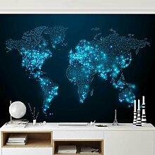 Halbglänzende Tapete Connected World Weltkarte