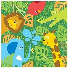 Halbglänzende Tapete Dschungel Tiere Zootiere
