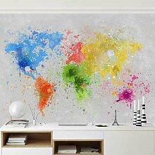 Halbglänzende Tapete Farbspritzer Weltkarte East