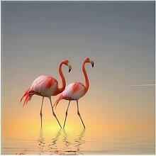 Halbglänzende Tapete Flamingo Love