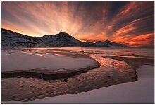 Halbglänzende Tapete Goldener Sonnenuntergang