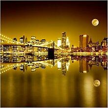 Halbglänzende Tapete Goldenes New York