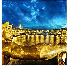 Halbglänzende Tapete Goldenes Paris