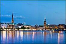 Halbglänzende Tapete Hamburg Skyline East Urban