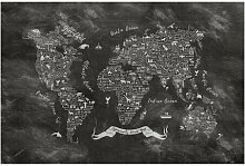 Halbglänzende Tapete Kreide Typografie Weltkarte