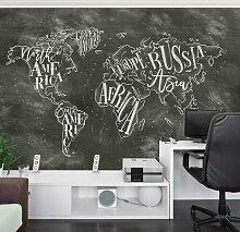 Halbglänzende Tapete Kreide Weltkarte