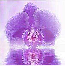 Halbglänzende Tapete Lila Orchidee auf Wasser