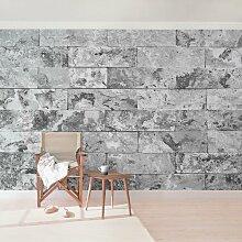 Halbglänzende Tapete Marmor Steinwand Naturmarmor