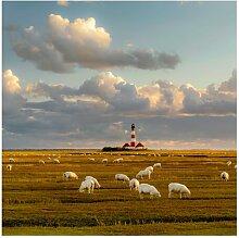 Halbglänzende Tapete Nordsee Leuchtturm mit