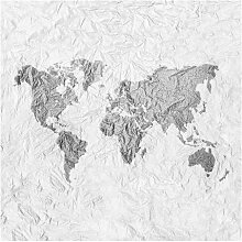 Halbglänzende Tapete Papier Weltkarte