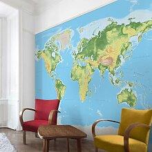 Halbglänzende Tapete Physische Weltkarte East