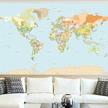 Halbglänzende Tapete Politische Weltkarte