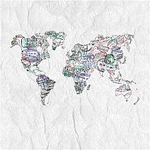 Halbglänzende Tapete Reisepass Stempel Weltkarte