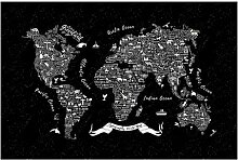 Halbglänzende Tapete Typografie Weltkarte East
