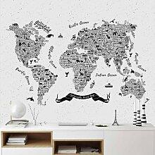 Halbglänzende Tapete Typografie Weltkarte