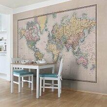 Halbglänzende Tapete Vintage Weltkarte um 1850